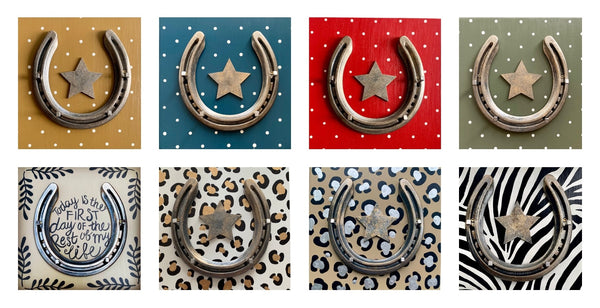 collection of customised horseshoe gifts, various different colours all available with personalised options