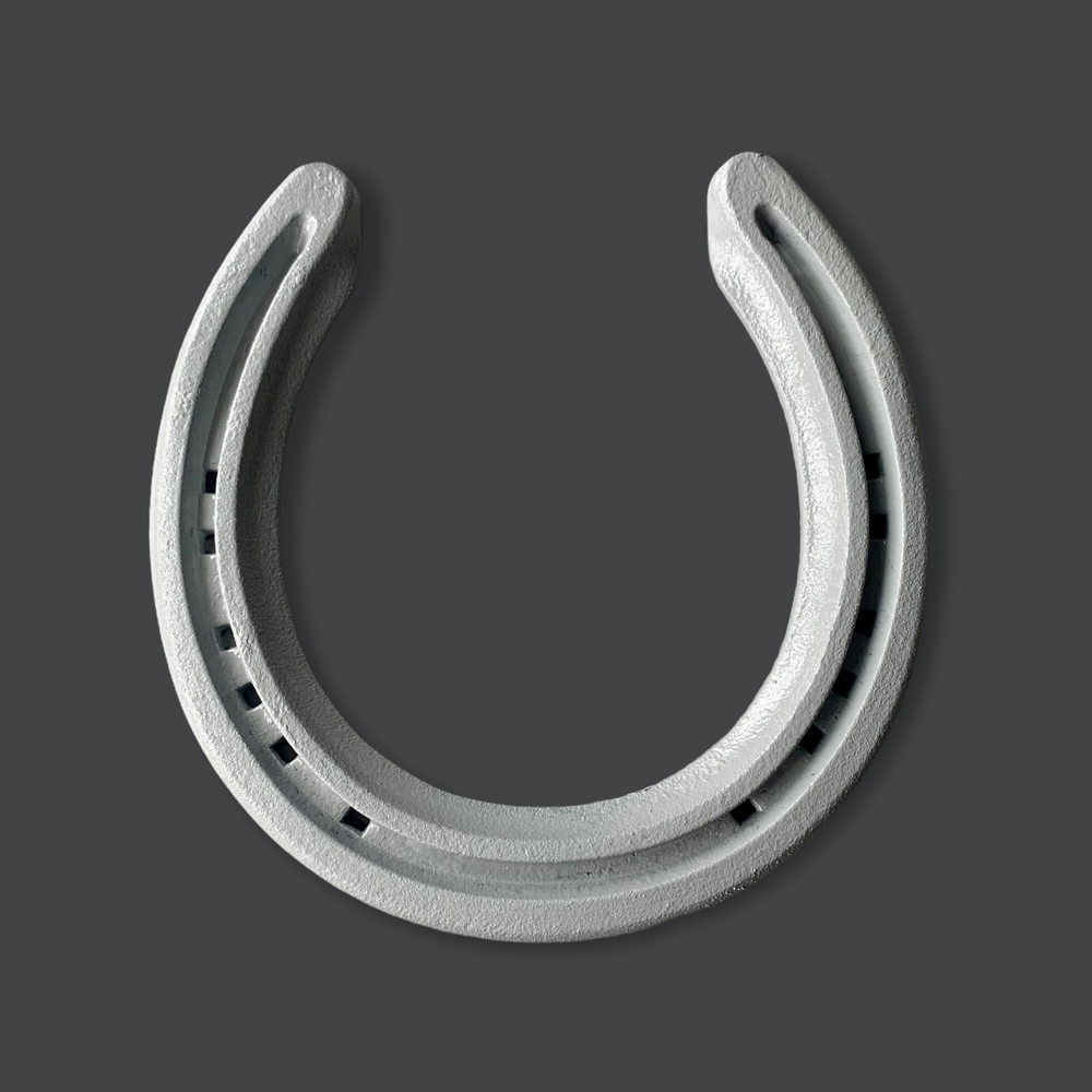 Classic Scandinavian painted horseshoe gift, Plain and simple no fuss Dove grey horseshoe on a downpipe grey background