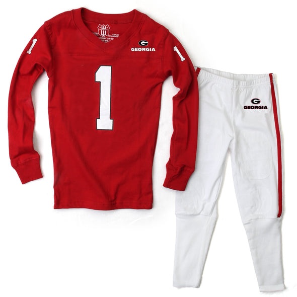 Wes & Willy Georgia Bulldogs LS Football Pajamas