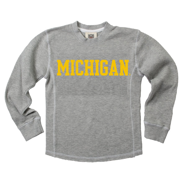 Wes & Willy Michigan Wolverines Boy's Thermal Crew