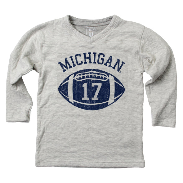 Wes & Willy Michigan Wolverines Boy's V-Neck Football Shirt