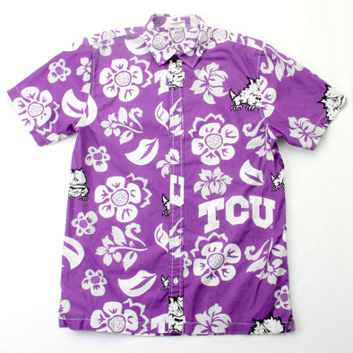 Wes & Willy TCU Horned Frogs Men's Floral Shirt