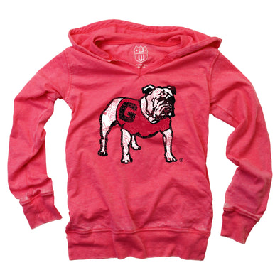 Wes & Willy Georgia Bulldogs Girl's Burnout Hoodie