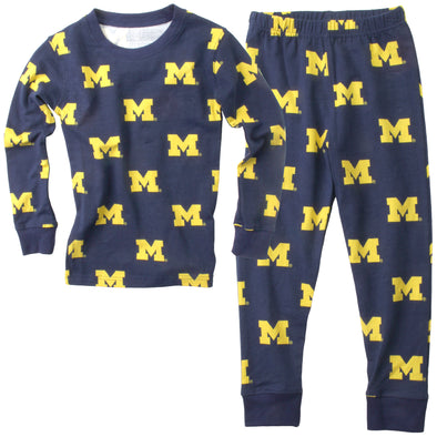 Wes & Willy Michigan Wolverines Allover Printed Pajama-Navy