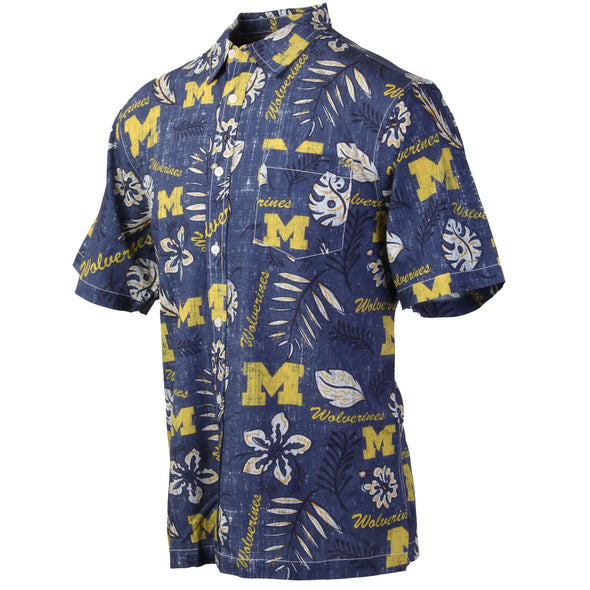 Wes and Willy Michigan Wolverines Men's Vintage Floral Shirt