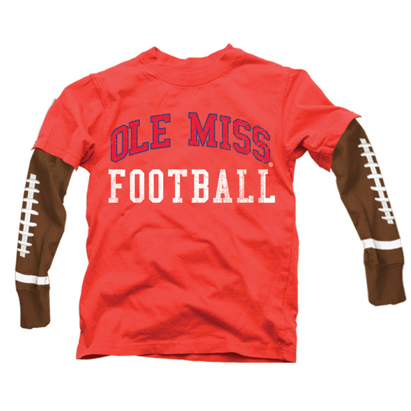 Wes & Willy Ole Miss Rebels Boy's Football Sleeve Tee