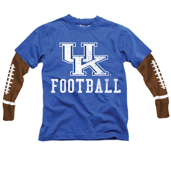 Wes & Willy Kentucky Wildcats Boy's Football Sleeve Tee