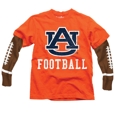 Wes & Willy Auburn Tigers Boy's Football Sleeve Tee