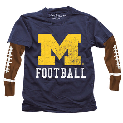Wes & Willy Michigan Wolverines Boy's Football Sleeve Tee
