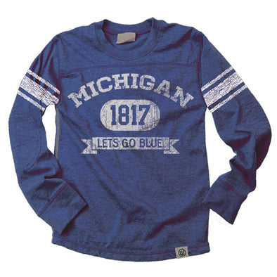 Wes & Willy Michigan Wolverines Boy's Sleeve Stripe Jersey