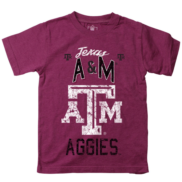 Wes & Willy Texas A&M Aggies Boy's Blended SS Tee