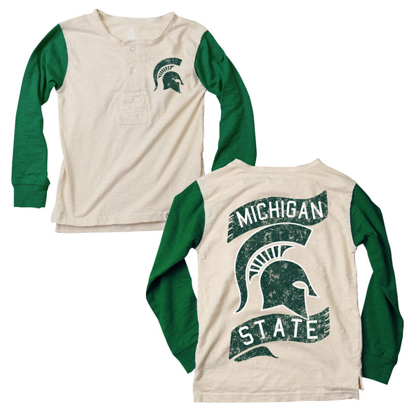 Wes & Willy Michigan State Spartans Boy's Slub Henley