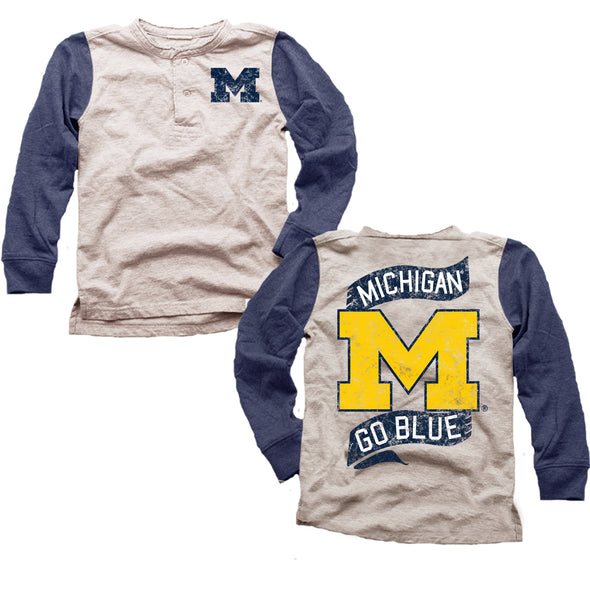 Wes & Willy Michigan Wolverines Boy's Slub Henley