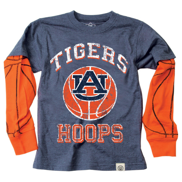 Wes & Willy Auburn Tigers Boy's Basketball Sleeve Tee