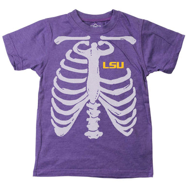 Wes & Willy LSU Tigers Boy's Glow Bones Tee