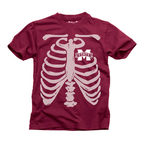 Wes & Willy Mississippi State Bulldogs Boy's Glow Bones Tee