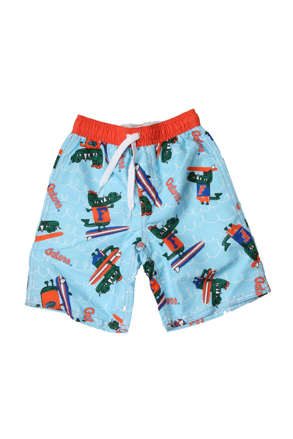 Wes & Willy Florida Gators Boy's Caricature Swim Trunks