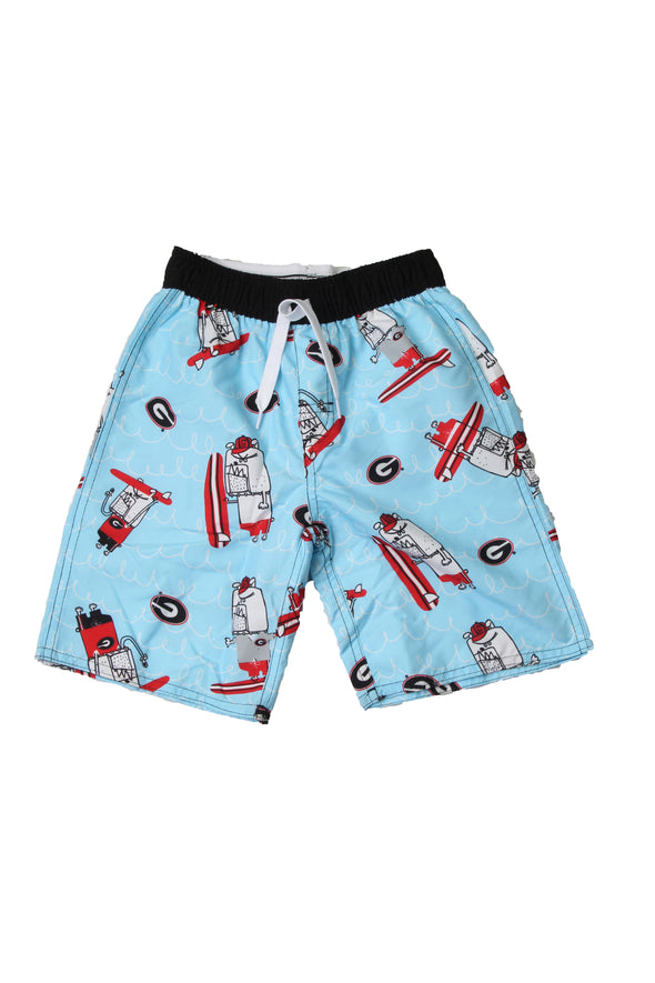 Wes & Willy Georgia Bulldogs Boy's Caricature Swim Trunks