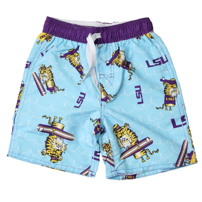 Wes & Willy LSU Tigers Caricature Swim Trunk