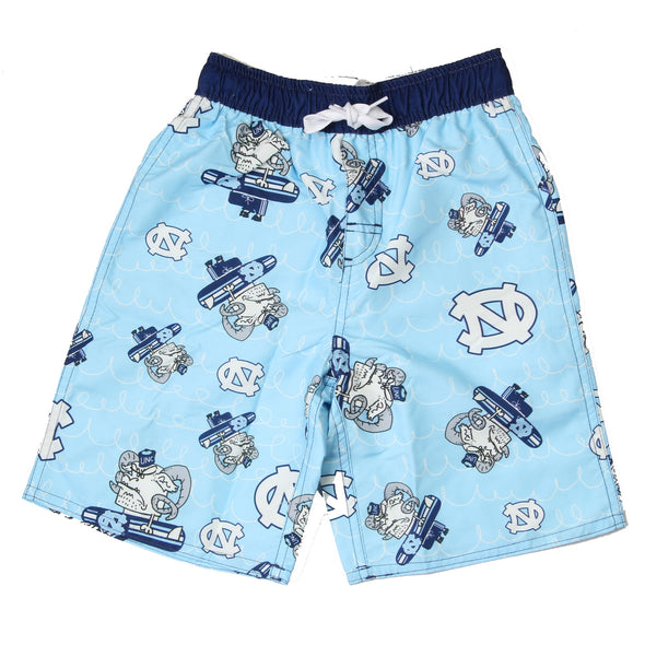 Wes & Willy Caricature Swim Trunk/North Carolina Tar Heels