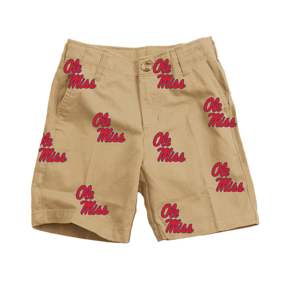 Wes & Willy Ole Miss Rebels Boy's Embroidered Twill Short