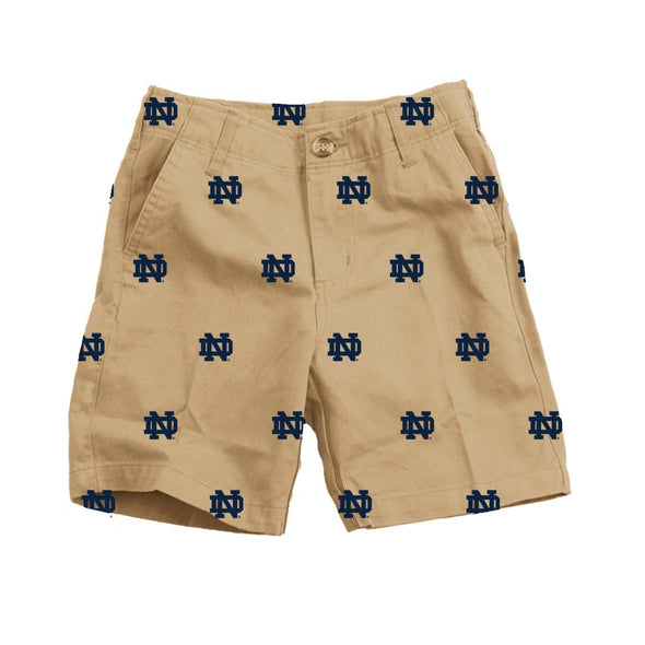 Wes & Willy Notre Dame Fighting Irish Embroidered Twill Short