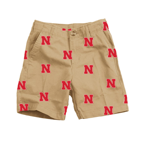 Wes & Willy Nebraska Huskers Embroidered Twill Short