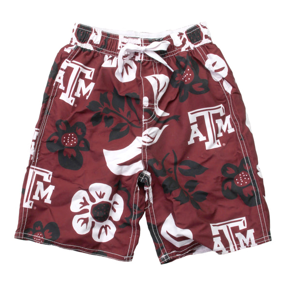 Wes & Willy Texas A&M Aggies Boy's Floral Swim Trunks