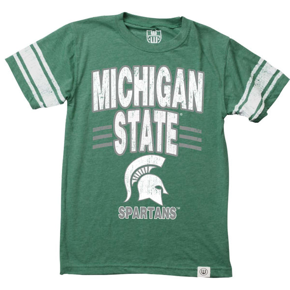 Wes & Willy Michigan State Spartans Boy's Sleeve Stripe Tee