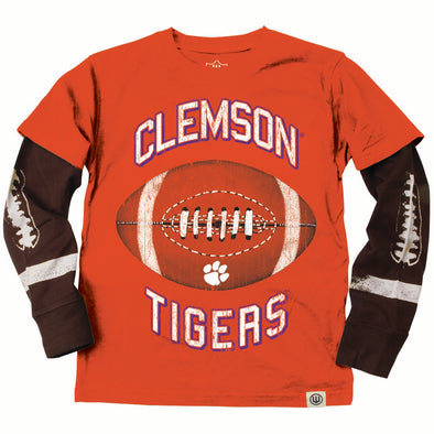 Wes & Willy Clemson Tigers Boy's Football Sleeve Tee