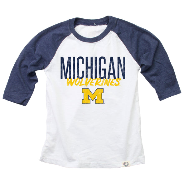 Wes & Willy Michigan Wolverines Youth 3/4 Sleeve Raglan