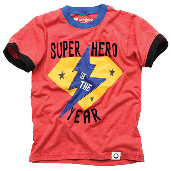 Wes & Willy Boy's Super Hero Ringer Tee