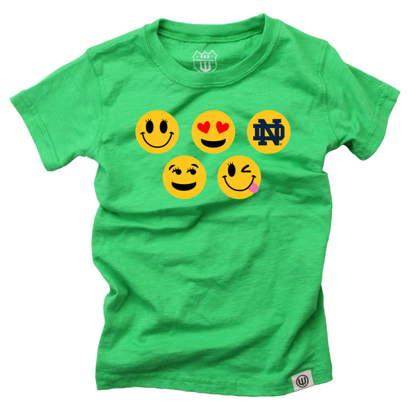 Wes & Willy Notre Dame Fighting Irish Girls Emoji Tee