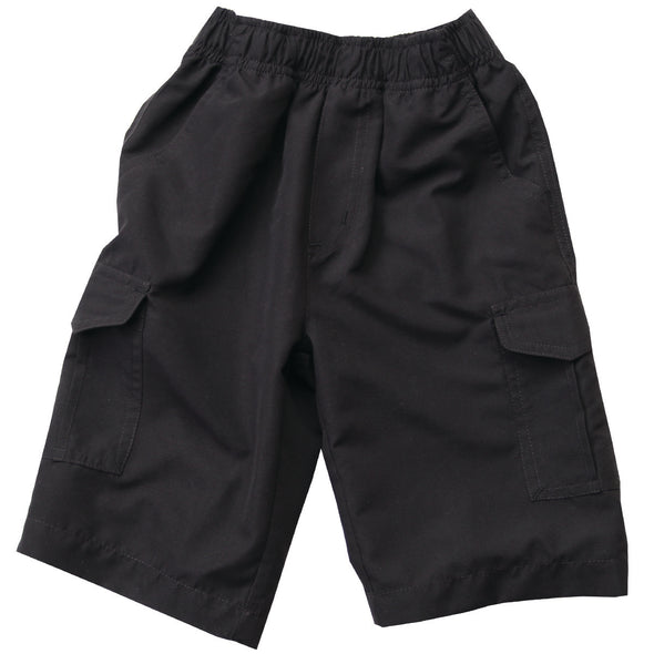 Wes & Willy Boy's Microfiber Cargo Shorts-Black
