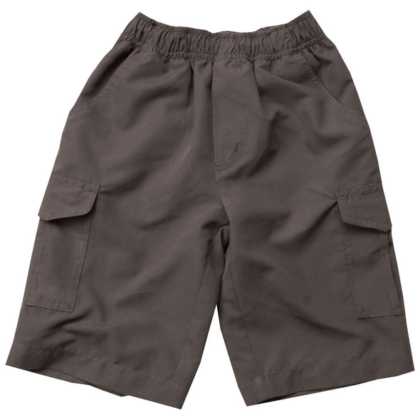 Wes & Willy Boy's Microfiber Cargo Shorts-Metal