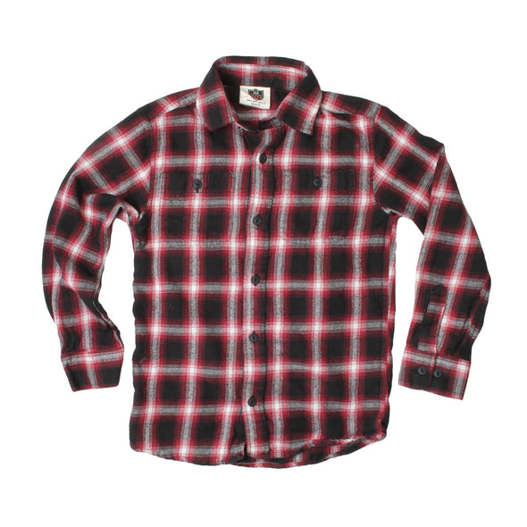 Wes & Willy Boy's Wine Plaid Shirt