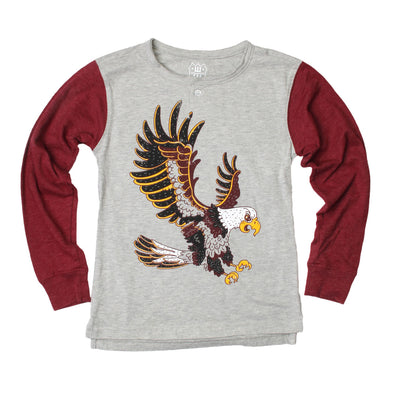 Wes & Willy Boy's Eagle Long Sleeve Contrast Henley