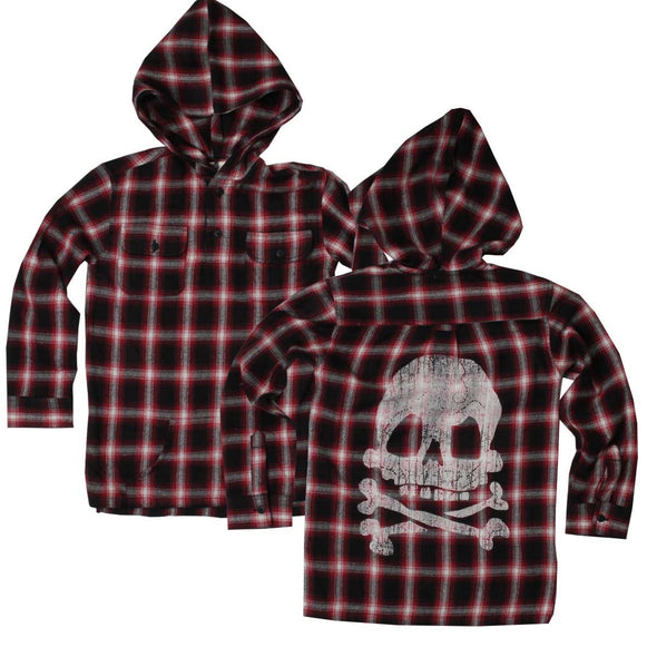 Wes & Willy Boy's Wine Plaid Hoodie