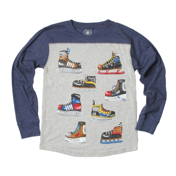 Wes & Willy Boy's Hockey Skate Long Sleeve Contrast Yoke Tee
