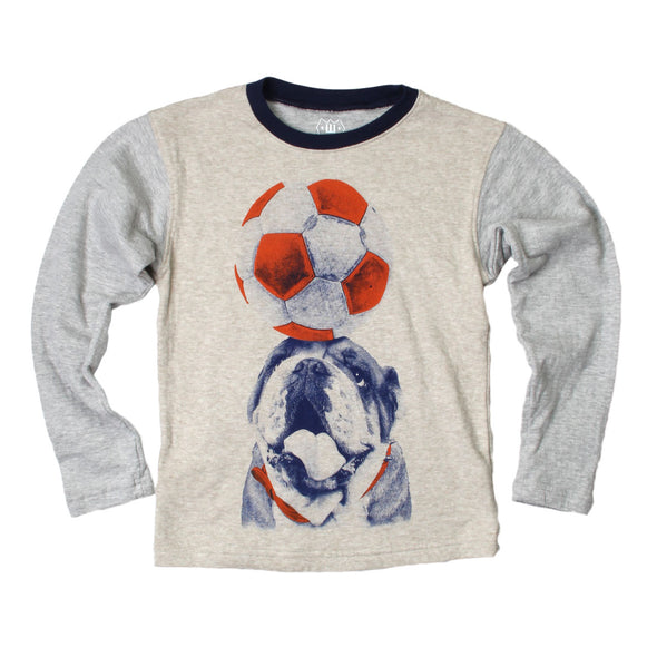 Wes & Willy Boy's Soccer Dog Contrast Long Sleeve Tee