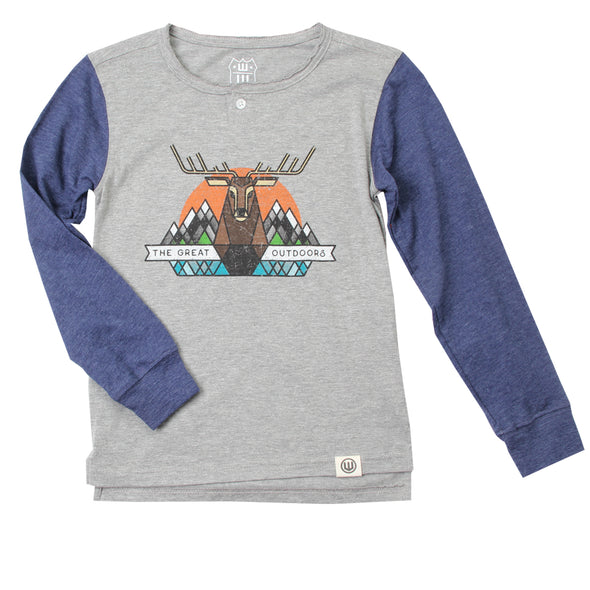 Wes & Willy Boy's Great Outdoors Long Sleeve Henley