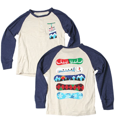 Wes & Willy Boy's Snowboard Long Sleeve Raglan Henley