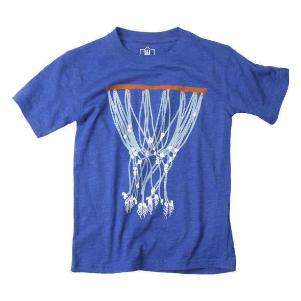 Wes & Willy Boy's Basketball Hoop Tee-Royal