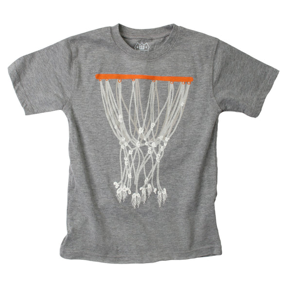 Wes & Willy Boy's Basketball Hoop Tee-Charcoal