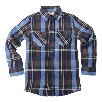Wes & Willy Boy's Flannel Shirt-Navy