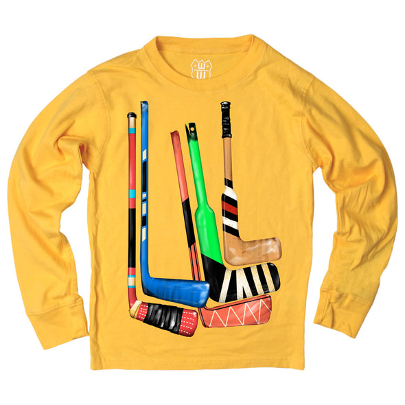 Wes & Willy Boy's Hockey Sticks Tee-Gold