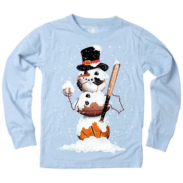 Wes & Willy Boy's Sports Snowman Tee-Blue