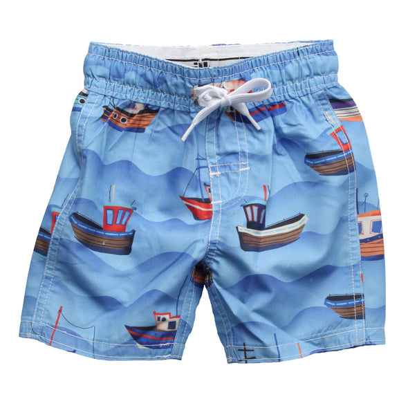 Wes & Willy Boy's Fishing Boats Swim Trunks