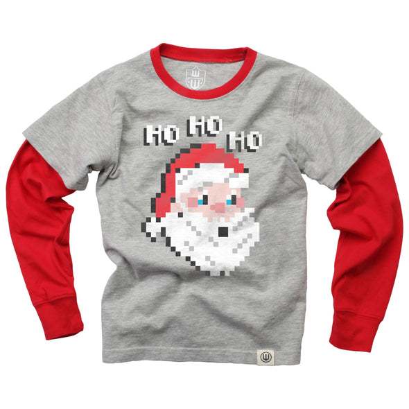 Wes & Willy Boy's Pixelated Santa Tee