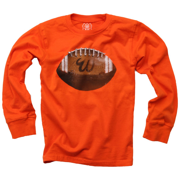 Wes & Willy Boy's Football Tee-Orange